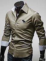 Men's Long Sleeve Shirt , Cotton Blend Casual / Work / Formal / Sport / Plus Sizes Print / Pure