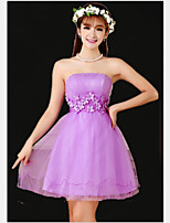 Short/Mini Tulle Bridesmaid Dress - Purple A-line Strapless