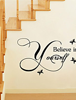 Wall Stickers Wall Decals Style Believe in Yourself English Words & Quotes PVC Wall Stickers
