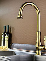 Shengbaier Traditional Ti-PVD Finish One Hole Single Handle Deck Mounted Rotatable Kitchen Faucet