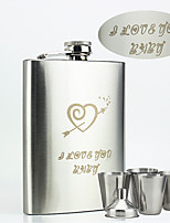 Personalized Stainless Steel Flasks 8-oz Flask An arrow through the heart