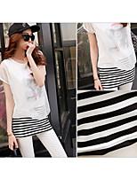 Women's White/Black T-shirt , Round Neck Short Sleeve