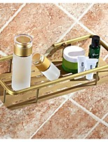 Bathroom Antique Brass Wall Mounted Single Layer Rectangle Soap Basket