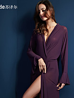 Suzel sexy female summer temptation lingerie thin transparent color gauze bathrobe Nightgown lengthened