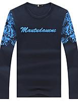 Men's Fashion Three-Dimensional Letter Printed Slim Long Sleeved T-Shirt