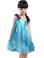 Kids Girl's Summer Sleeveless Butterfly Multilevel Chiffon Princess Party Dresses (Chiffon/Cotton Blends)