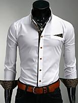 Camisa De los hombres Casual/Trabajo/Formal/Deporte A Rayas/Un Color - Mezcla de Algodón - Manga Larga