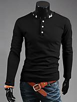 Men's Casual/Work/Sport Pure Long Sleeve Regular T-Shirt (Cotton Blend)