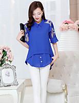 Women's Blue/White/Black Blouse , Work ½ Length Sleeve