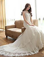 Fit & Flare Wedding Dress Court Train Jewel Tulle with Appliques / Crystal / Pearl