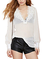 Women's Sexy Lantern Sleeve Lace Patchwork Deep V Neck Translucent Casual Blouse
