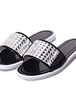Women's Shoes Flat Heel Slingback Slippers Casual Black/White/Silver