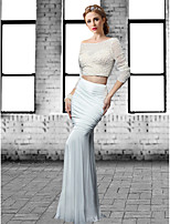 Formal Evening Dress - Ivory / Black Plus Sizes / Petite Trumpet/Mermaid Jewel Floor-length Tulle / Spandex