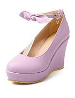 Women's Shoes Synthetic Wedge Heel Heels/Basic Pump Pumps/Heels Office & Career/Dress/Casual Black/Pink/Purple/Beige