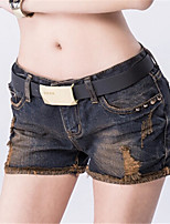 Women's Casual Inelastic Medium Shorts Pants (Denim)