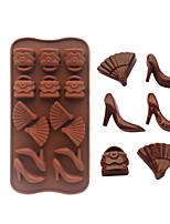 bolsas de tacones en forma de abanico moldes de cocción de hielo / chocolate / molde de la torta