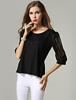 Women's Sexy Casual Lace Cute Plus Sizes Inelastic ½ Length Sleeve Regular T-shirt (Lace)