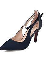 Women's Shoes Suede Stiletto Heel Heels/Closed Toe Pumps/Heels Casual Black/Blue