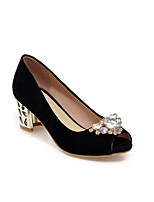 Women's Shoes  Kitten Heel Peep Toe Pumps/Heels Office & Career/Dress Black/Blue/Red