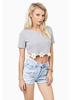 Women's Solid/Patchwork T-shirt , Round Neck Short Sleeve Tassel/Flower