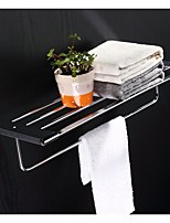 Bathroom Chrome Finsh Wall Mounted Square Towel Shelf with Bar