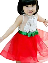 Summer Kids Girls Bow Belt Sequined Red Sleeveless Party Dresses (Cotton Blends)