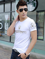 Men's Short Sleeve T-Shirt , Cotton/Polyester Casual Pure