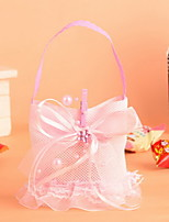Butterfly Knot and Pearl Beads European Wedding Candy Bags Gift Bags Set of 12