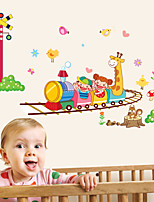 Wall Stickers Wall Decals, Happy Train Cartoon Animals Stickers