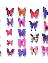 24pcs 3d pegatinas de pared de la mariposa de simulación arte calcomanías
