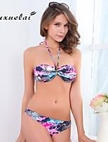De las mujeres Bikini - Cintura Alta/Monocolor/Borlas/Floral/Geométrico/Cruzado Sin Soporte/Sujetador Acolchado - Bandeau -