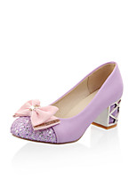 Women's Heels Comfort Novelty Spring Fall Leatherette Casual Dress Office & Career Bowknot Chunky Heel Black Purple Blushing Pink Almond
