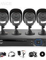 SANNCE 4CH AHD-L DVR w/ eCloud HDMI 1080P/VGA/BNC Output  4pcs 800TVL CMOS 42LEDS Day/Night IR-cut Cameras IP66(NO HDD)