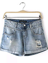 Women's Summer Fashion Europe Sexy/Casual Hole Curling Inelastic Jean Shorts Pant (Denim)