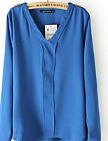 Women's Casual/Work Micro-elastic Long Sleeve Regular Blouse (Chiffon)