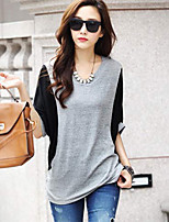 Women's Patchwork Gray T-shirt , Casual Round Neck ½ Length Sleeve