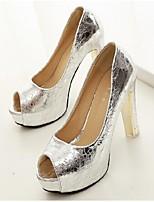 Women's Shoes Platform Peep Toe/Platform Pumps/Heels Casual Black/Silver/Gold
