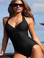 Women's Halter One-pieces , Solid/Bandage Push-up/Underwire Bra/Padless Bra Polyester/Spandex Black
