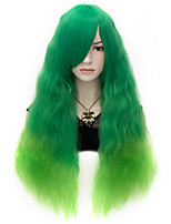 70cm Cool Color Rhaspy Ombre Green Wig Fashion Gothic Lolita Women Cosplay Party Wig