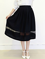 Women's Solid Blue/Black Skirts , Casual Midi Pleated/Mesh