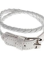 Long Braided Leather Bracelet(White)
