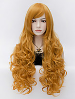 Elegant Mature Sexy Women Long Gold Spiral Curly Full Hair Wig