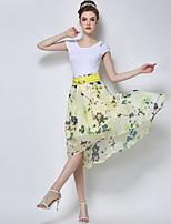TS Women's Fashion Inelastic Floral Print High Waist Elegant Asym Midi Skirts(Chiffon)