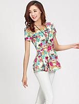 Women's Casual Micro Elastic Short Sleeve Regular Blouse (Chiffon)