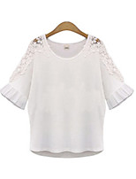 Women's Casual Plus Sizes Micro-elastic ½ Length Sleeve Regular Blouse (Cotton Spandex)
