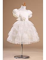 Prinsess Knälång Flower Girl Dress - Satäng/Tyll Kort ärm