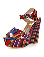 Women's Shoes Canvas Wedge Heel Wedges Sandals Outdoor/Office & Career/Dress Green/Red