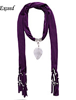 D Exceed  Women Fashion Purple Polyester Solid Color Scarves with Alloy Hollow Out Leaf Pendant Tassel Jewelry Scarfs