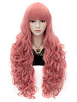 80cm Long Flat Bang Full Pink Curly heat resist Synthetic Cosplay Hair Party Wig