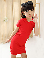 Girl's Summer Casual/Cute Solid Color Short Sleeve Dresses